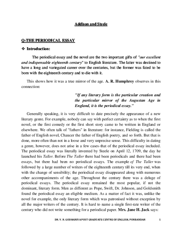 origin and development of periodical essay