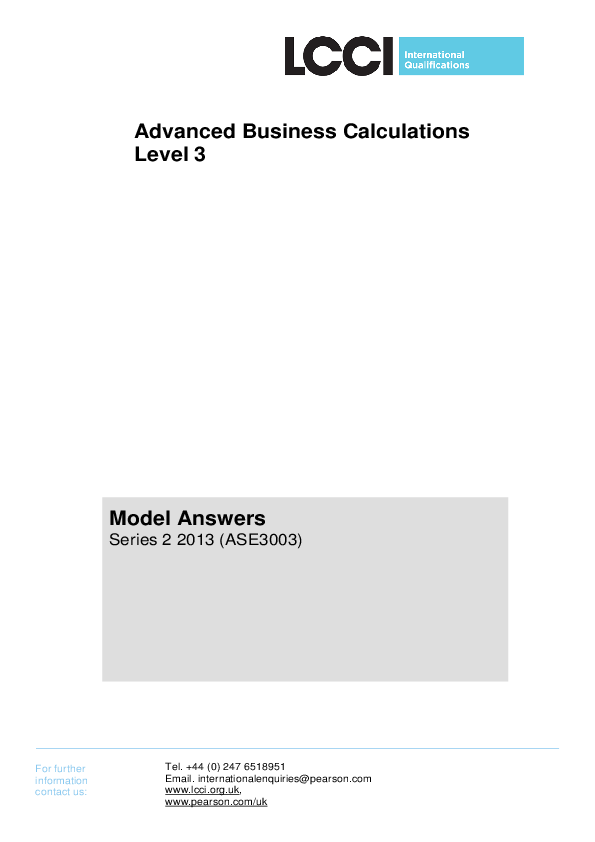 PDF) Advanced Business Calculations Level 3 Model Answers