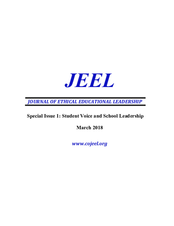 Special Issue 1 Student Voice And School Leadership Jeel Journal Of