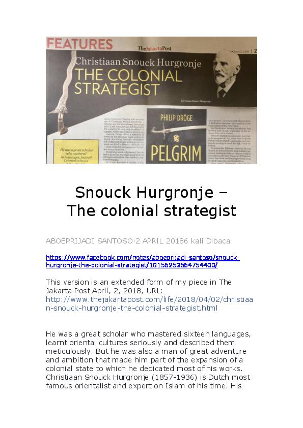 Ongekend DOC) Snouck Hurgronje - The colonial strategist (April 2, 2018 MI-72