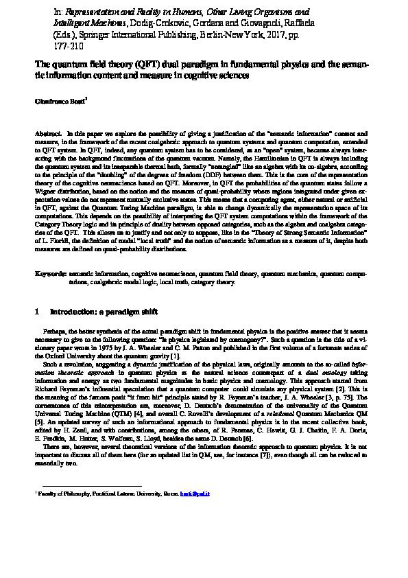 PDF) The quantum field theory (QFT) dual paradigm in