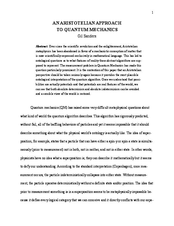PDF) An Aristotelian Approach to Quantum Mechanics   Gil Sanders