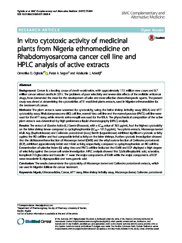 PDF) In vitro cytotoxic activity of medicinal plants from