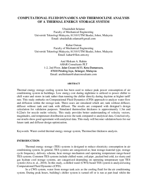 PDF) COMPUTATIONAL FLUID DYNAMICS AND THERMOCLINE ANALYSIS