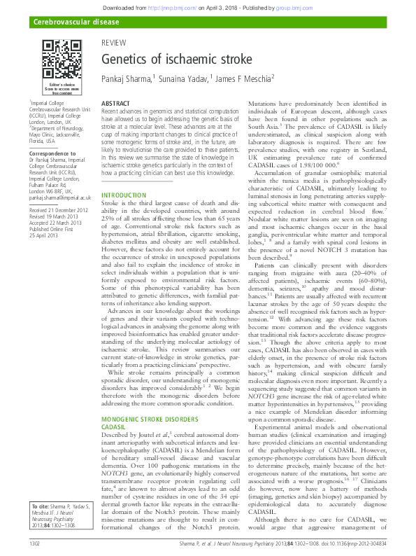 PDF) Genetics of ischaemic stroke   Pankaj Sharma - Academia edu
