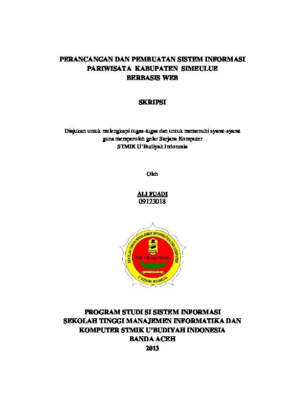 Pdf Ali Fuadi Perancangan Dan Pembuatan Sistem Informasi Pariwisata Kabupaten Simeulue Robbi Arbil Academia Edu