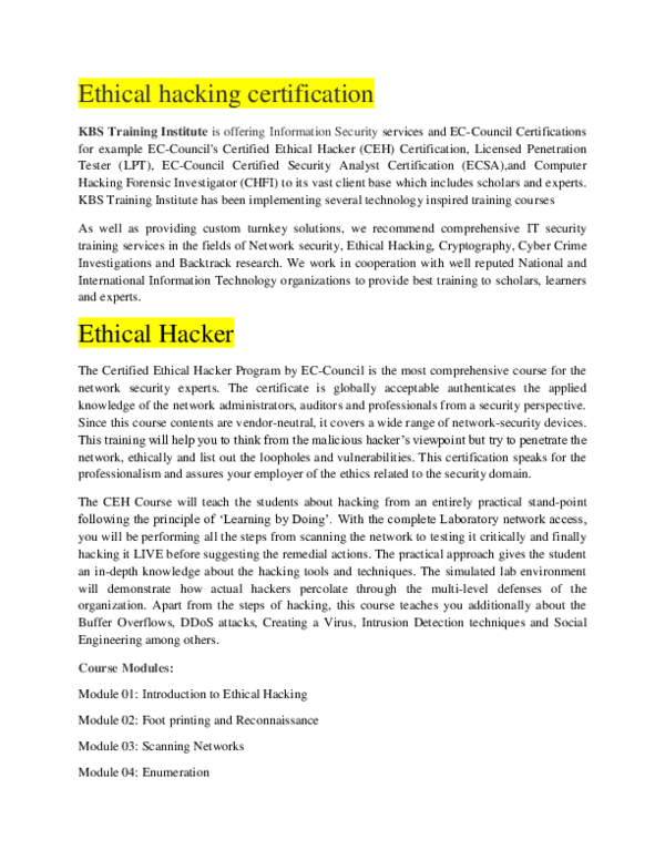 DOC) Ethical hacking certification | KBS Training Institute