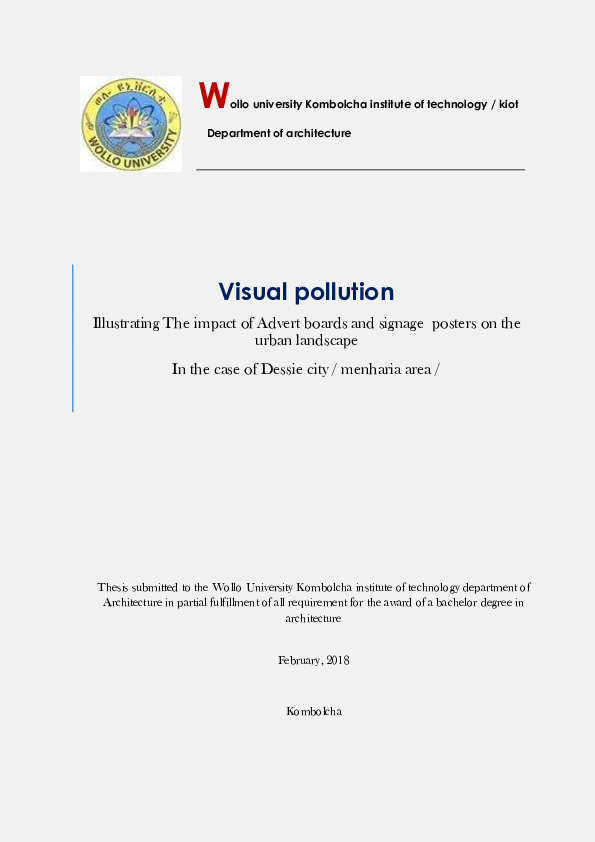 PDF) Visual pollution, Illustrating The impact of Advert boards and