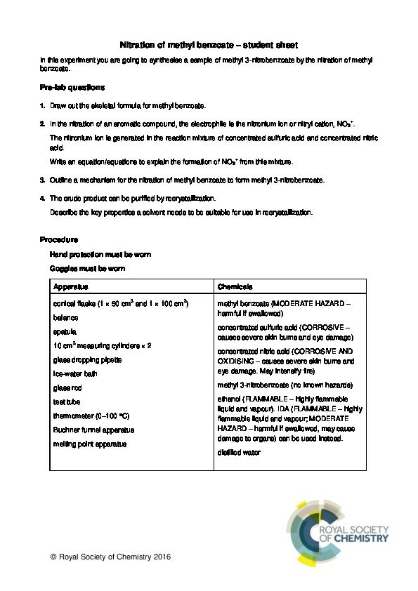 PDF) Nitration of methyl benzoate – student sheet | Joshua