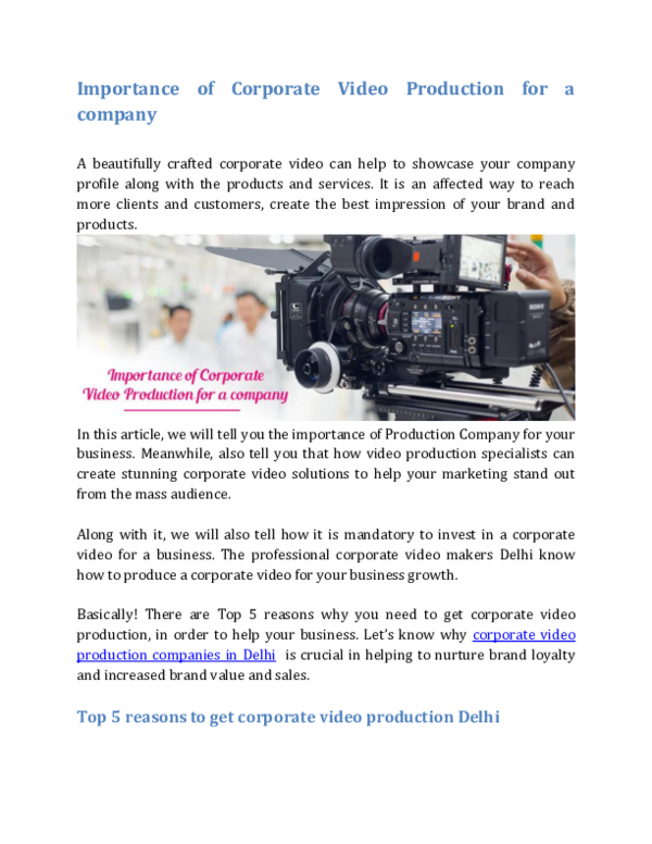 PDF) Importance of Corporate Video Production for a company