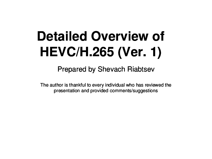 PPT) HEVC Overview | Shevach Riabtsev - Academia edu
