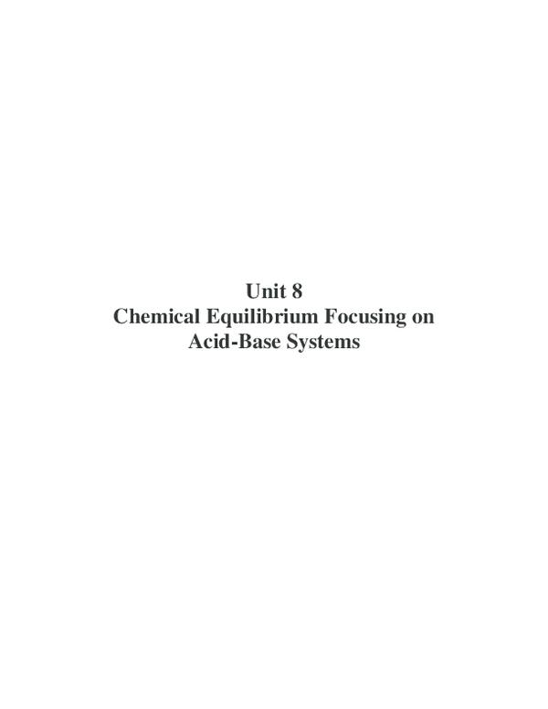 PDF) Unit 8 Chemical Equilibrium Focusing on Acid-Base