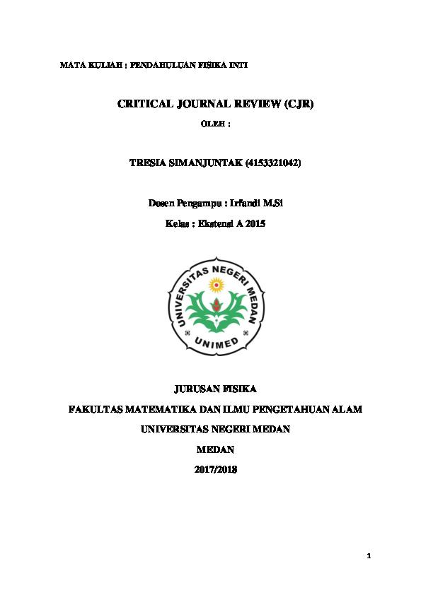 Doc Critical Journal Review Cjr Tresia Simanjuntak Academia Edu