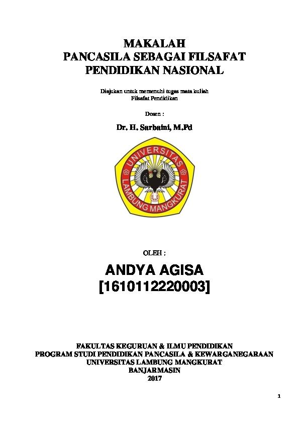 Doc Makalah Pancasila Sebagai Filsafat Pendidikan Nasional Andya Agisa Academia Edu