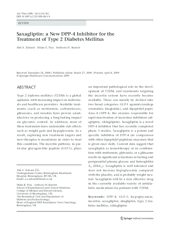 Saxagliptin A New DPP 4 Inhibitor For The Treatment Of Type 2