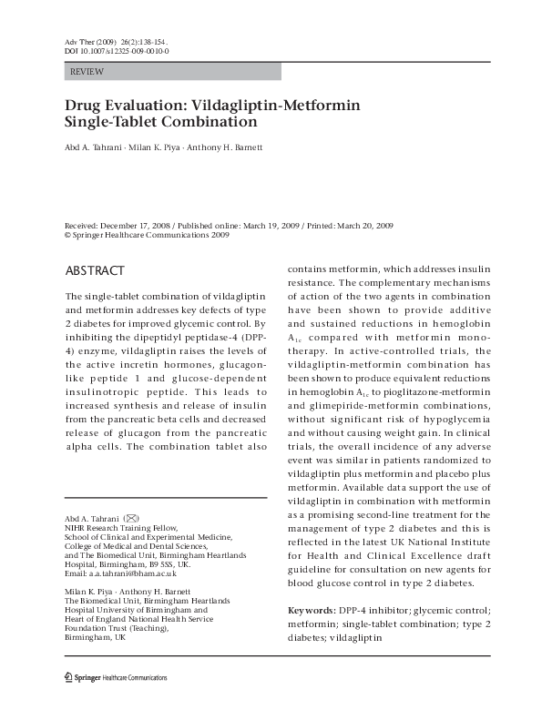 Drug Evaluation Vildagliptin Metformin Single Tablet Combination