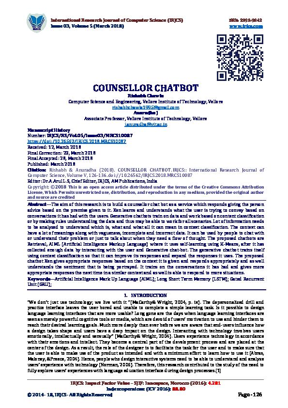 PDF) COUNSELLOR CHATBOT   IRJCS: : International Research