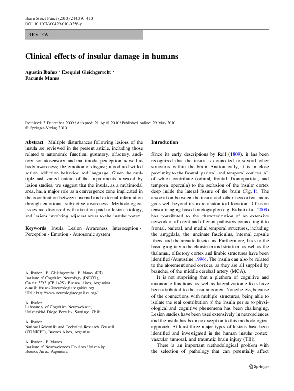 PDF) Clinical effects of insular damage in humans | Agustin Ibanez