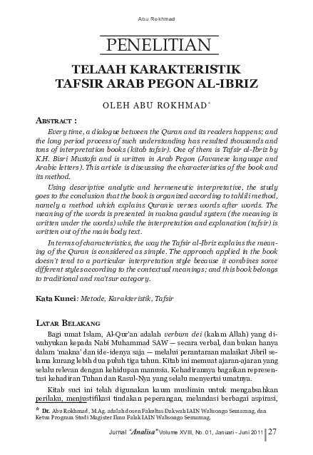 Pdf Telaah Karakteristik Tafsir Arab Pegon Al Ibriz Login