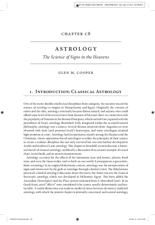 """PDF) """"Astrology: The Science of Signs in the Heavens """" In The Oxford"""