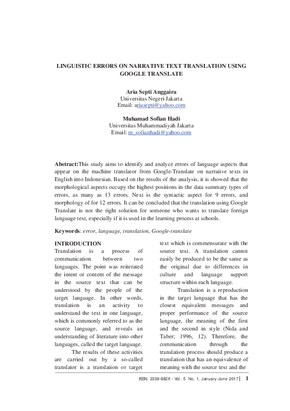 PDF) LINGUISTIC ERRORS ON NARRATIVE TEXT TRANSLATION USING
