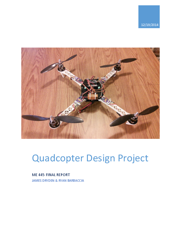 PDF) Quadcopter Design Project | Muhammad Ali - Academia edu