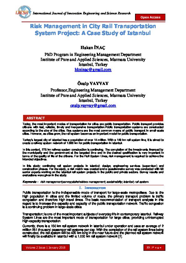 PDF) Risk Management in City Rail Transportation System