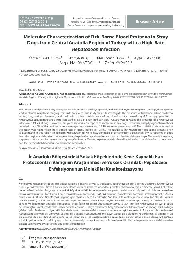 PDF) Molecular Characterization of Tick-Borne Blood Protozoa