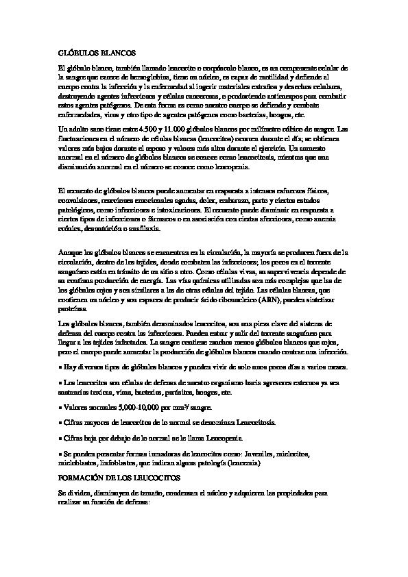 Globulos blancos resultados normales