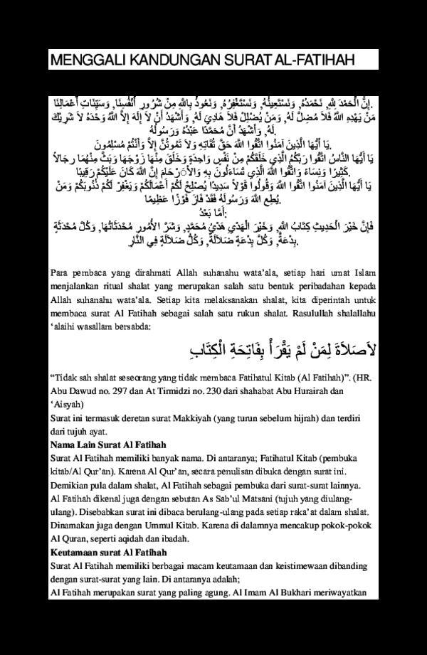 Doc Menggali Kandungan Surat Al Fatihahdocx Nota Bensin