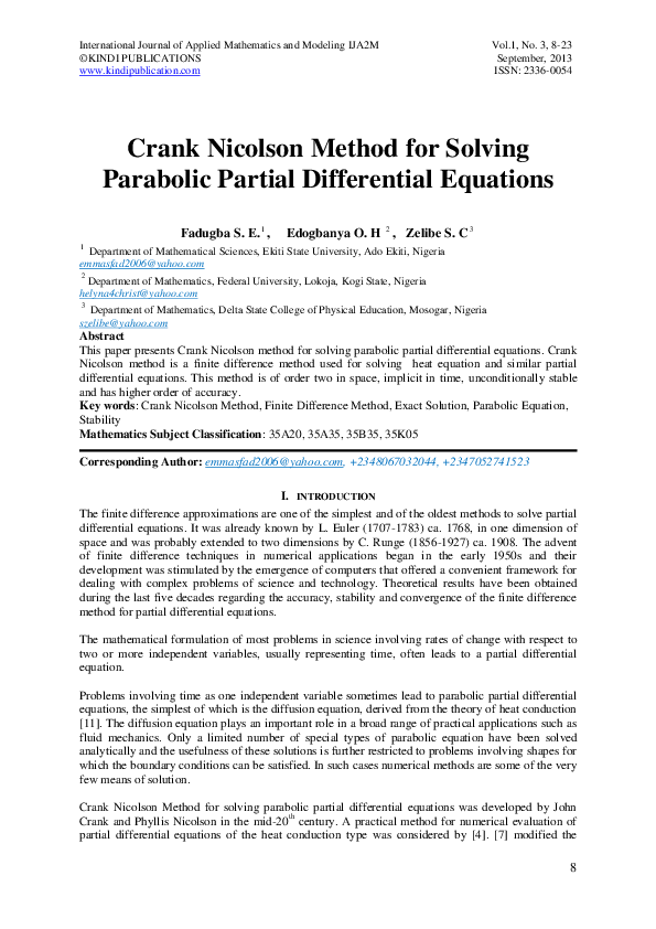 PDF) Crank Nicolson Method for Solving Parabolic Partial