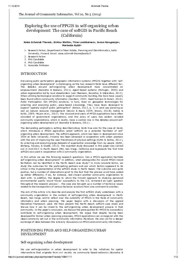PDF) Exploring the use of PPGIS in self-organizing urban