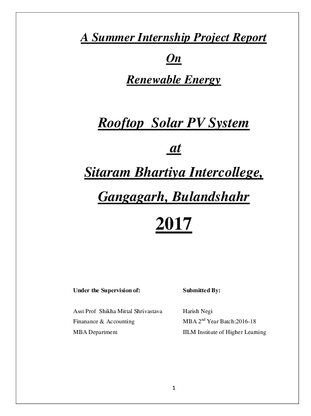 PDF) A Summer Internship Project Report On Renewable Energy