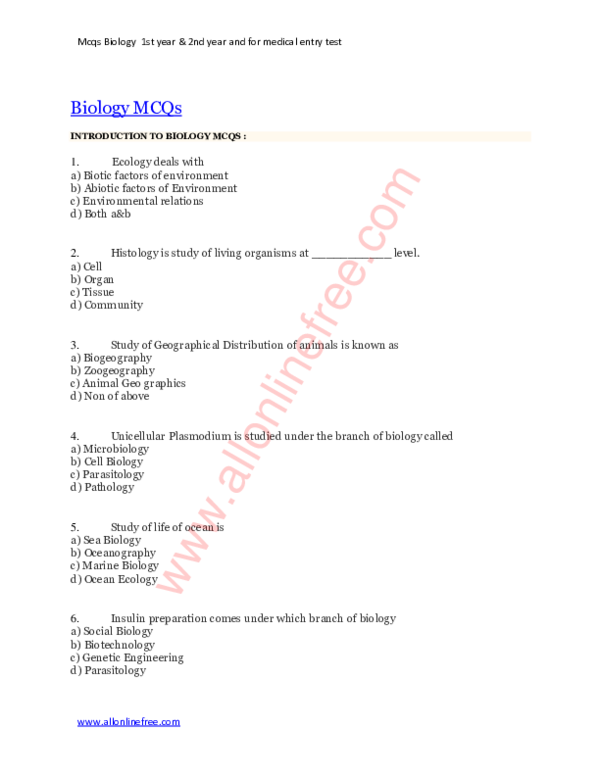 PDF) Mcqs Biology 1st year & 2nd year and for medical entry test