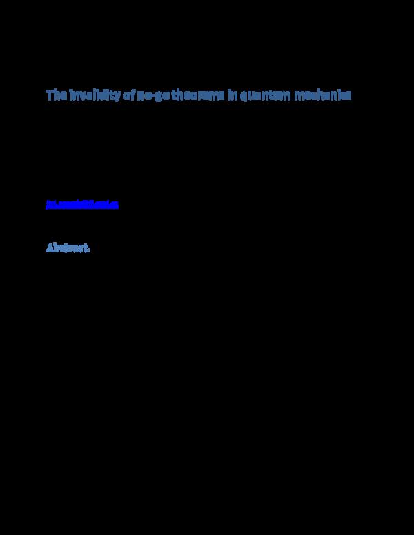 PDF) The invalidity of no-go theorems in quantum mechanics