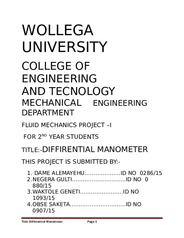 DOC) Title: Differential ManometerPage 1 | Birbirsa Betie - Academia edu