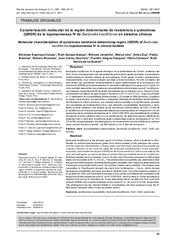 PDF) Molecular characterization of quinolones resistance