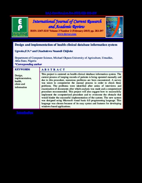 Pdf Design And Implementation Of Health Clinical Database Information System Fidelia Ndidi Ugwoke Academia Edu