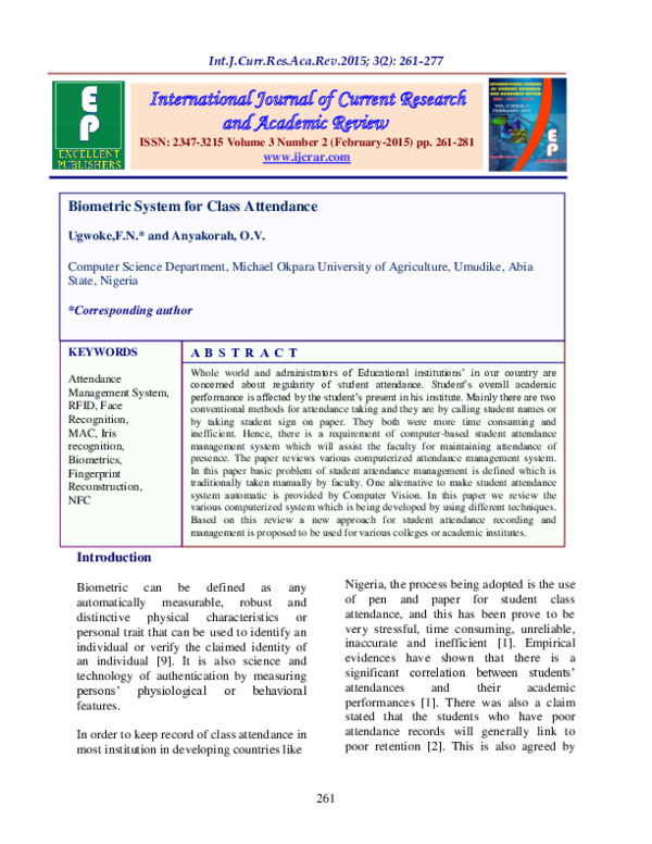 PDF) Biometric System for Class Attendance | Fidelia Ndidi