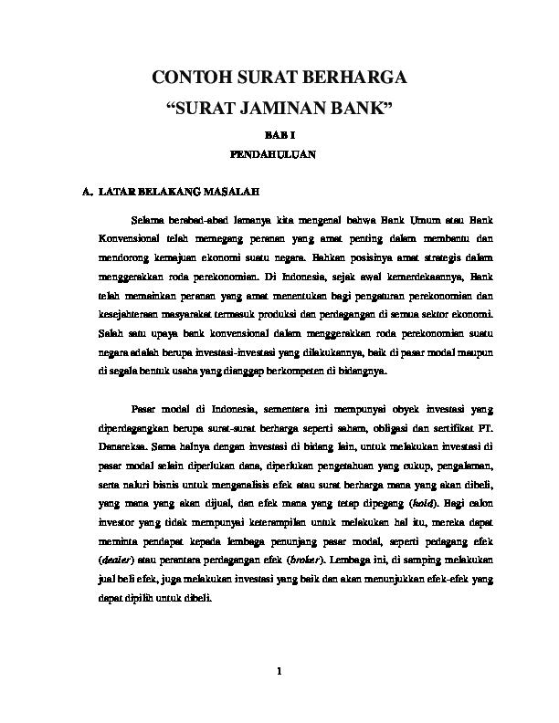 Doc Contoh Surat Berharga Surat Jaminan Bank Azizah