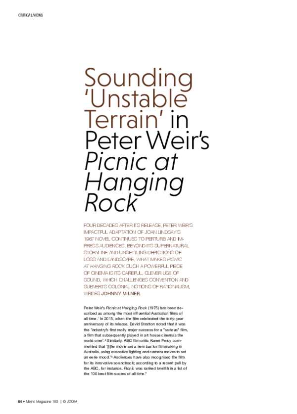 PDF) Sounding 'Unstable Terrain' in Peter Weir's Picnic at