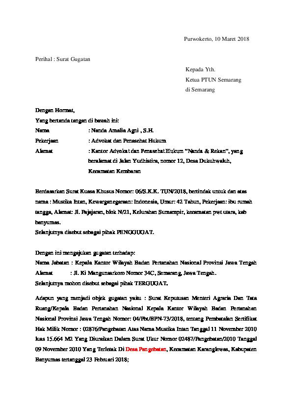 Doc Surat Gugatan Ptun Copy Agnindya Agnimustika