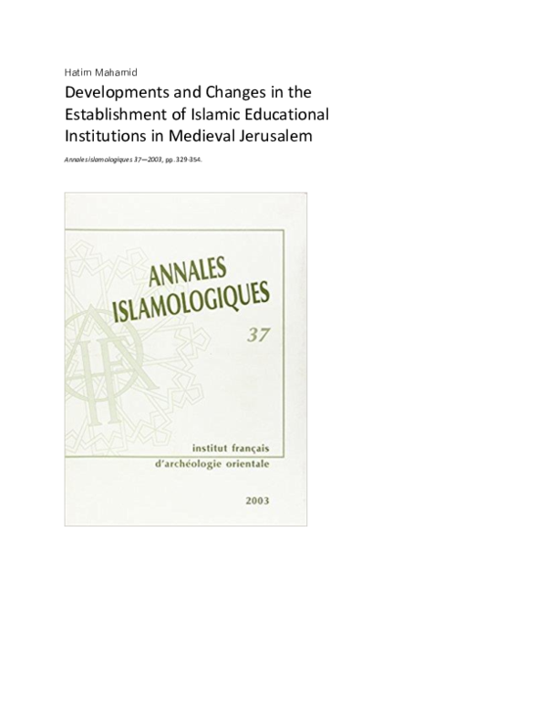 DOC) Developments and Changes in the Establishment of Islamic