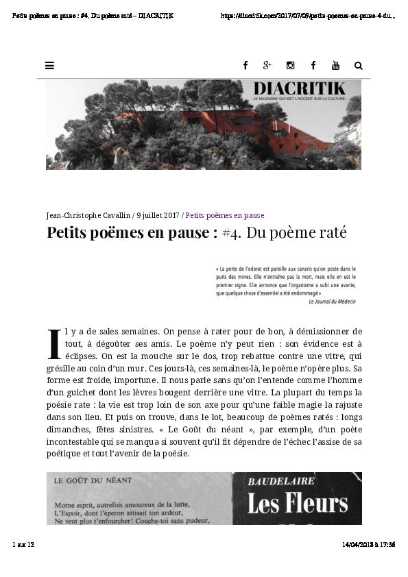 Pdf Petits Poëmes En Pause 4 Du Poème Raté Jean