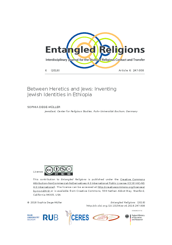 PDF) Between Heretics and Jews: Inventing Jewish Identities in Ethiopia    Sophia Dege-Müller - Academia.edu