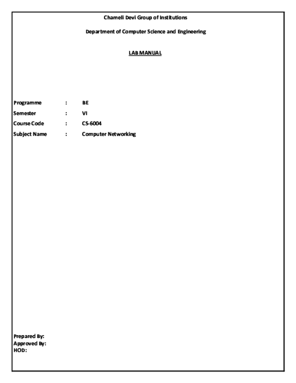 PDF) CS6004 CN LAB-MANUAL | Rohan Kumar - Academia edu