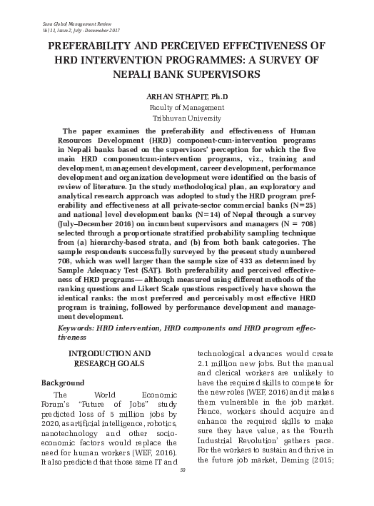 PDF) PREFERABILITY AND PERCEIVED EFFECTIVENESS OF HRD