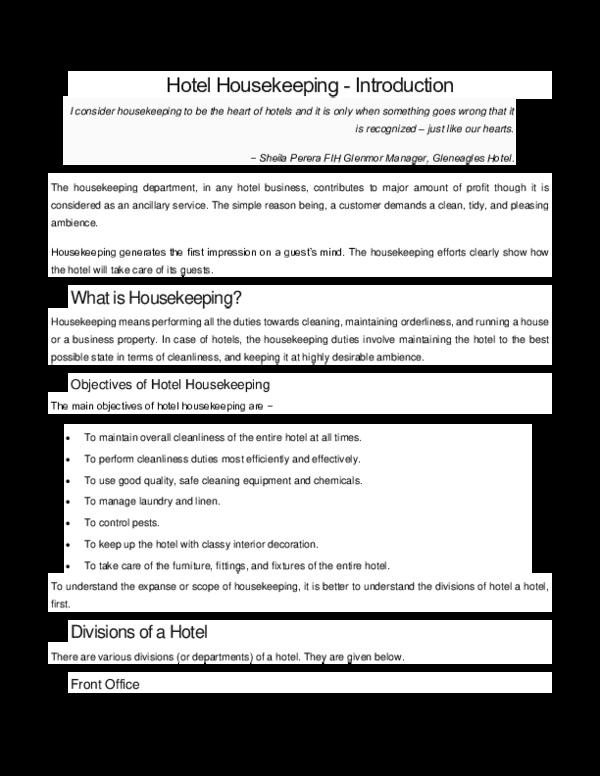 DOC) Hotel Housekeeping -Introduction | sime yd dechasa