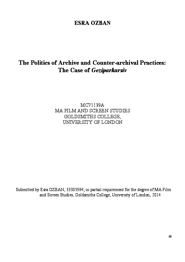 PDF) The Politics of Archive and Counter-archival Practices