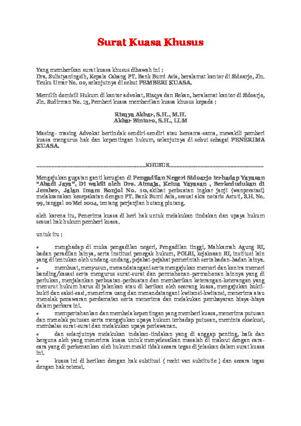 Pdf Surat Kuasa Khusus Surat Gugatan Permohonan Sita